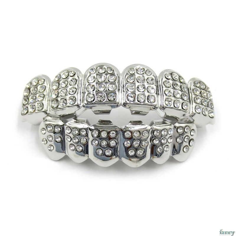 New Fshion Hip Hop Gold Silver Colour Iced Out CZ Teeth Grillz Top Bottom  Men Women Jewelry 2