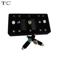 Black Velvet Ring Storage Tray Jewelry Showing Tray Detachable Ring Holder Organizer Ring Showcase Props 24