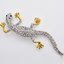 Gecko Lizard Brooch Pins Women Enamel Broach Pins Crystal Animal Corsage Lapel Pin Badge for Men's Suit Jewelry Accessories crystal enamel green gecko brooches lizard brooch pins animal corsage chameleon scarf buckle