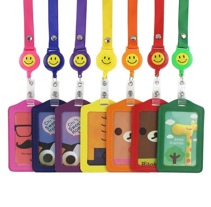 Cartoon Animals Giraffe Bear Cat Retractable Badge Reel Student Card Badge Holder For Bus Credit Card Cover With Lanyard