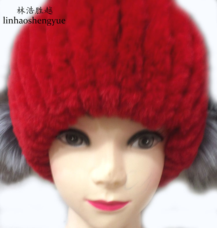 ФОТО Linhaoshengyue gray Senior lithium rabbit fox fur hats real fur winter warm freeshipping