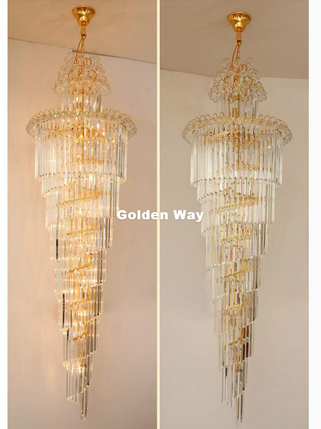 Kostenloser Versand Moderne Kristall kronleuchter LED Kerzenhalter Lampen Moderne Treppe Kronleuchter Villa Wohnzimmer Hängen Beleuchtung - 5