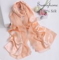 Brand Designer Silk Gold Scarf Women Spring Summer Nude pink 100% Satin silk pashmina and shawl plain Hijab patchwork Scarves