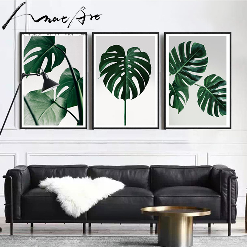 Canvas Pictures Posters Green Plant Nordic-Decoration Modern Painting Prints Living-Room