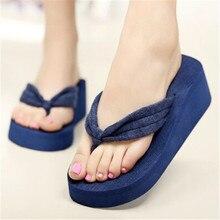SIZE 42 Women Flip Flops Wedges Platform Slippers Beach Thick Heel Sandals Wedge Slippers Wedges Slides Women Summer Shoes