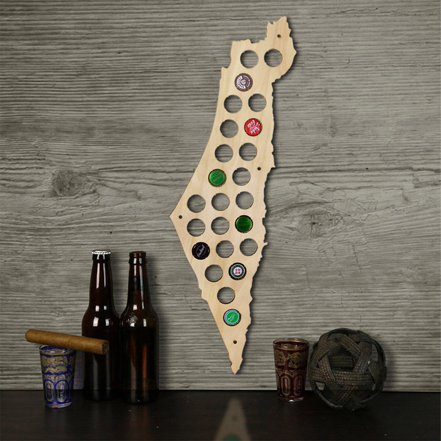 Free Shipping 1Piece Israel Beer Cap Map Bottle Cap Map Unique Design Art Beer Cap Map Gift for Beer Aficionado Wall Decoration