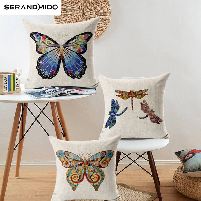 High Quality Erfly Decorative Pillows Printed Dragonfly Cushion Cover Square 18x18 Inches Cotton Linen Euro Pillow