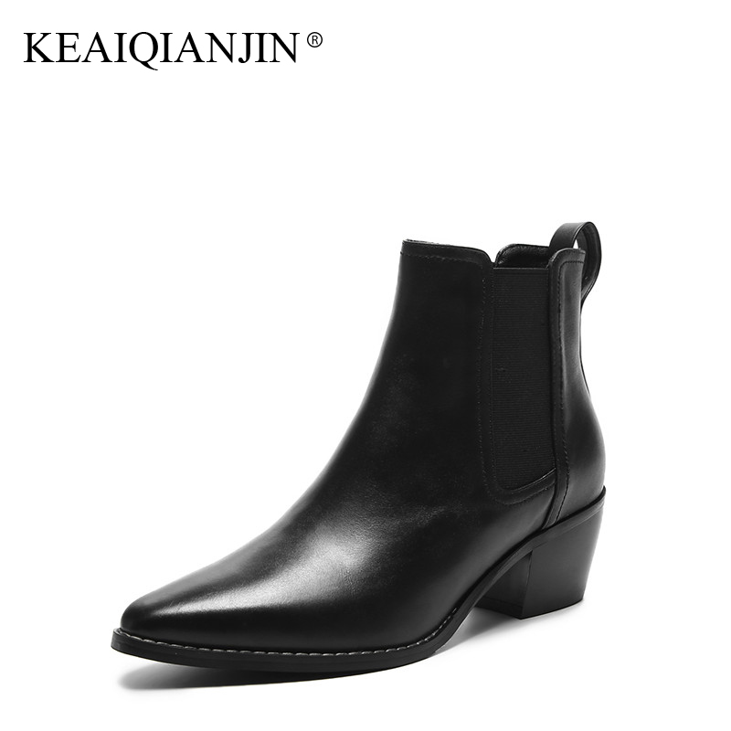 KEAIQIANJIN Woman Genuine Leather Martin Boots Black Autumn Winter Pointed Toe Ankle Boots Fashion Punk Motorcycle Boots 2017 women martin boots 2017 autumn winter punk style shoes female genuine leather rivet retro black buckle motorcycle ankle booties