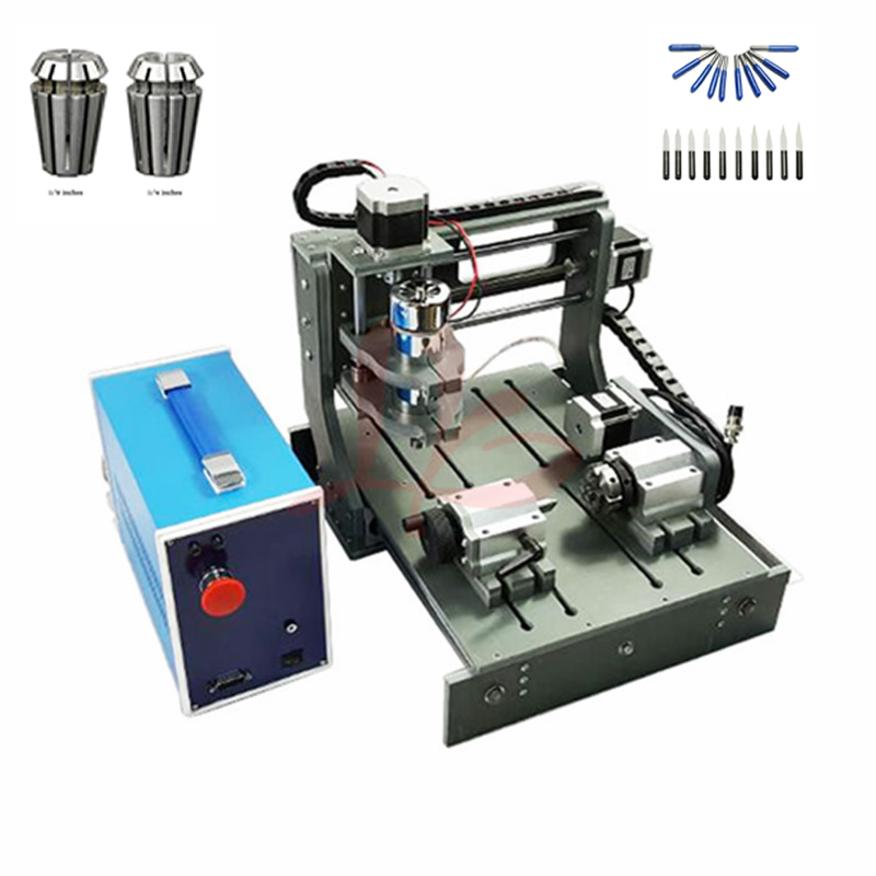 300W spindle Wood Router 3020 Diy mini CNC machine with working area 20x30x5cm Pcb engraver with free cutter er11 collet