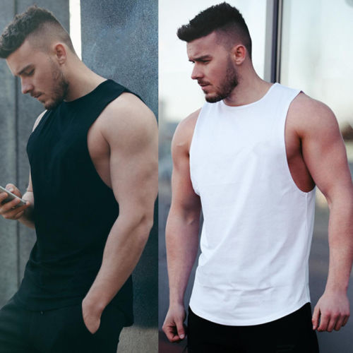 Summer Sleeveless Muscle Vest Mens   Tank     top   Slim Fit O-Neck Casual Solid   Tank     Tops   HOT Men Black White Vest