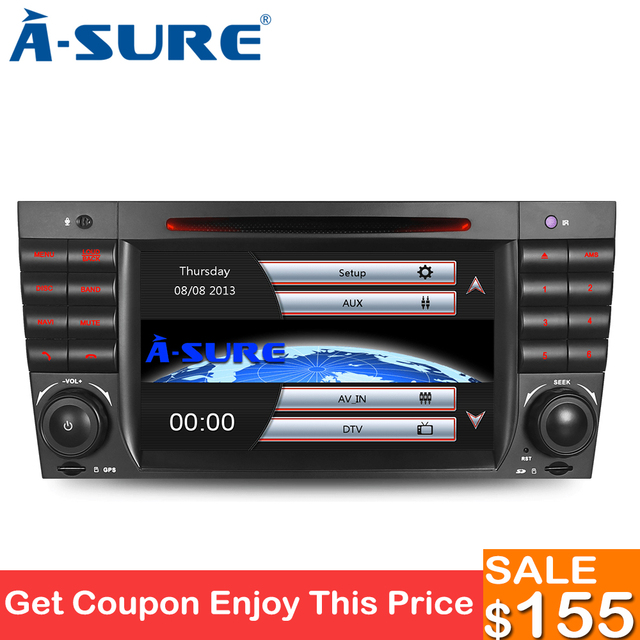 US $165 11 21% OFF|A Sure 7 Inch 2 Din DAB+ DVD GPS Radio Player GPS  Navigation System For Mercedes Benz C/CLK Class W209 AMG Bluetooth USB  CANBUS-in