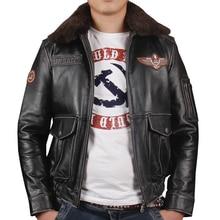 c1d4150ef1226 HARLEY DAMSON Rocznika Czarny Mężczyzn Pilot Skórzana Kurtka Z Wełny  Kołnierz Skórzany Płaszcz Plus Rozmiar XXXL