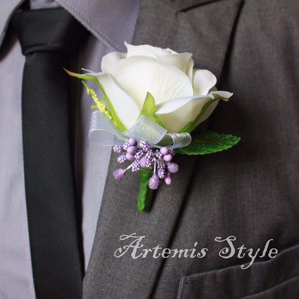 Ivory Rose Boutonniere Wedding Decoration Onhole Artificial Flowers Decor Party Banquet Lapel Flower Groom Bestman Corsages In Dried