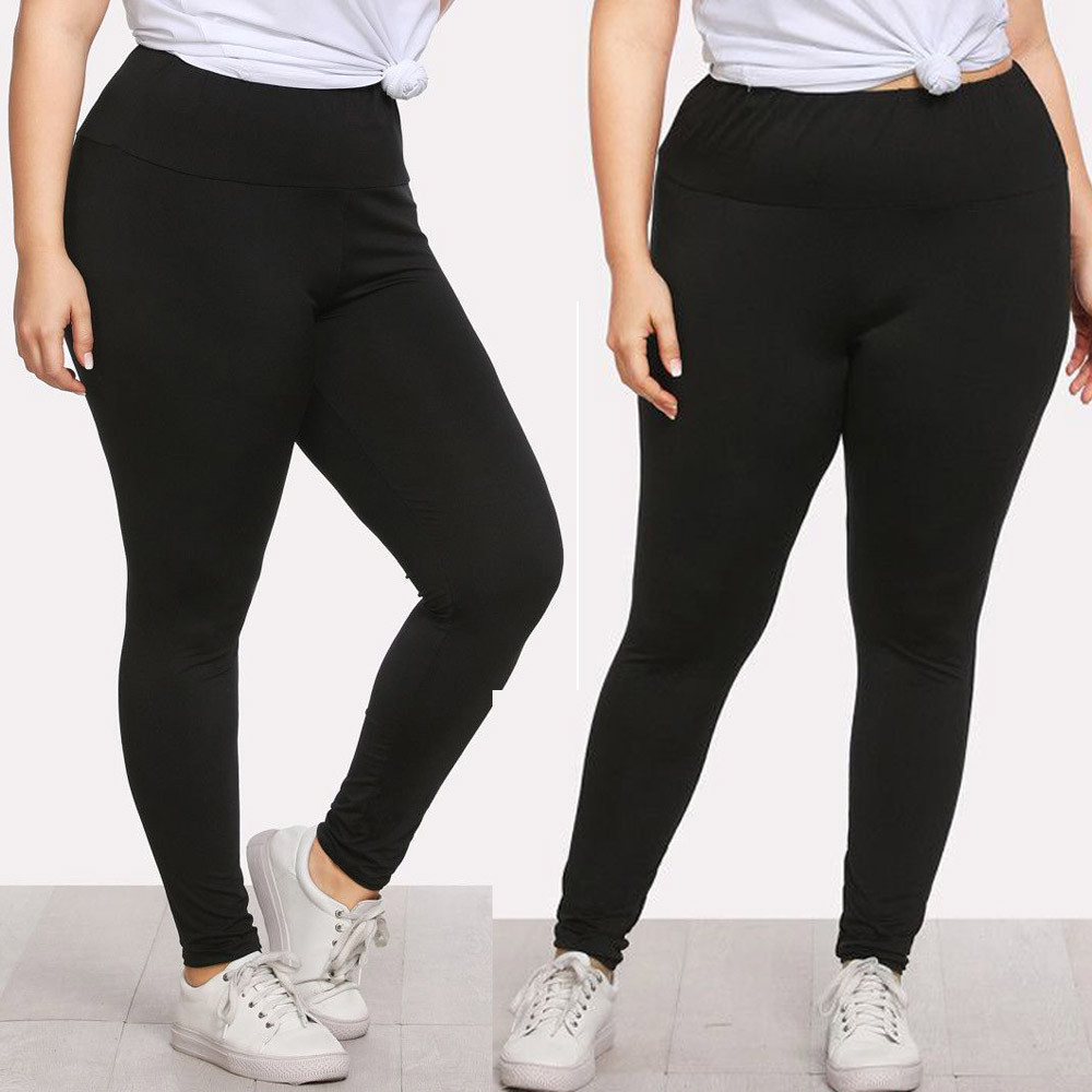 Female Plus Size Women Sexy Leggings Trousers Sports Trousers Solid Pencil Pants Large Black Tights Flexible Track Sportswear