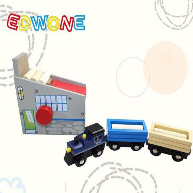 EDWONE Столярной Мастерской и 1 Поезд С 2 Вагонов Деревянный Автомобиль Toys Для Детей, Литье Под Давлением Частей Развивающие Игрушки Интерактивные Подарки