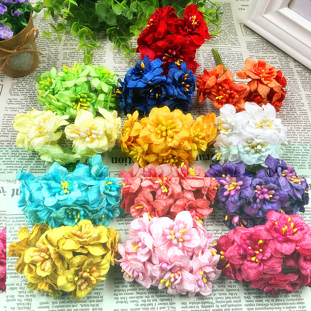 6 PCS (4 cm/flower) artificial stamens silk cloth dry flower bouquet ...