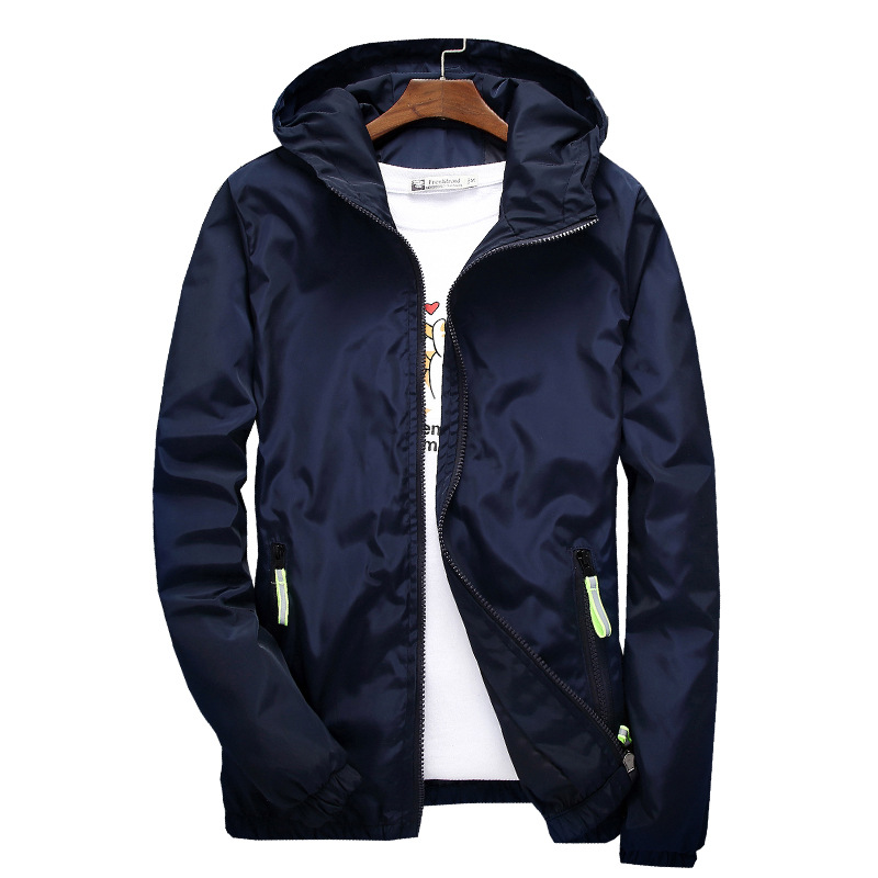 Size 6XL 5XL 7XL 2019 Spring Autumn Young Men Windbreaker Hooded Jacket Slim Thin Clothing Top Quality Waterproof Plus Size