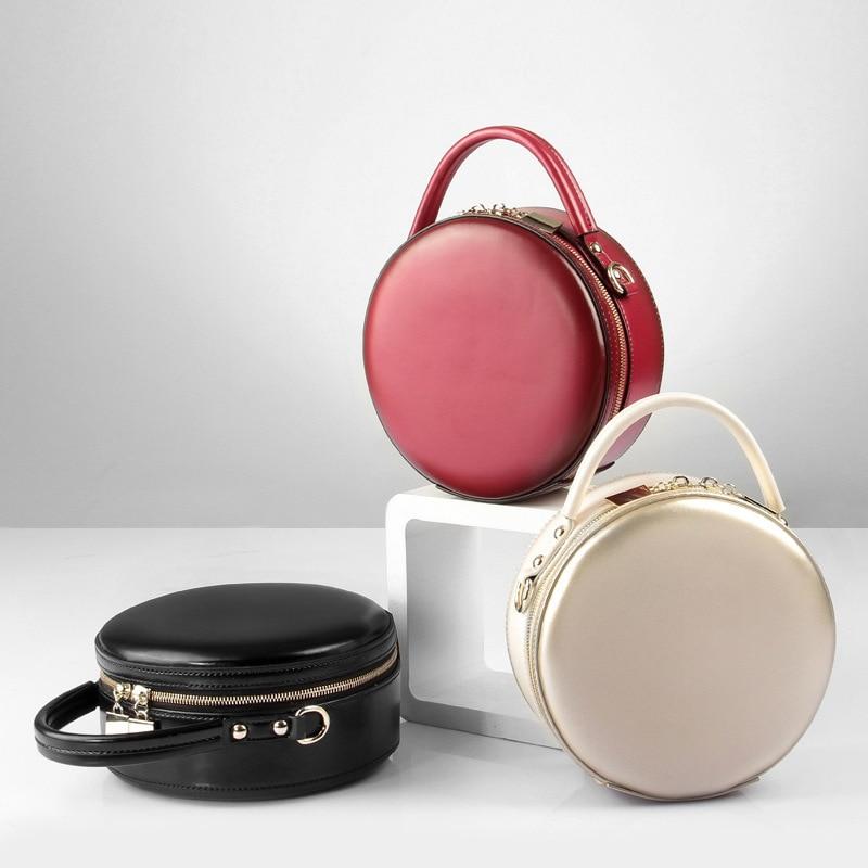 Caker бренд Для женщин круг Натуральная кожаные сумочки женские вечерние плеча Crossbody сумки Мода Круглый Сумка красная сумочка Оптовая