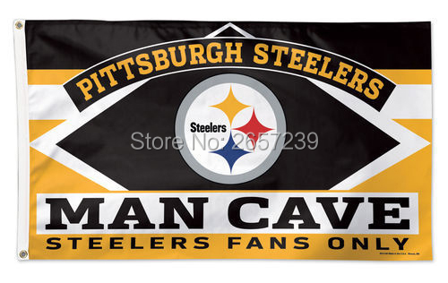 Pittsburgh Steelers Man Cave Decor : Pittsburgh steelers man cave fans only nfl flag ft