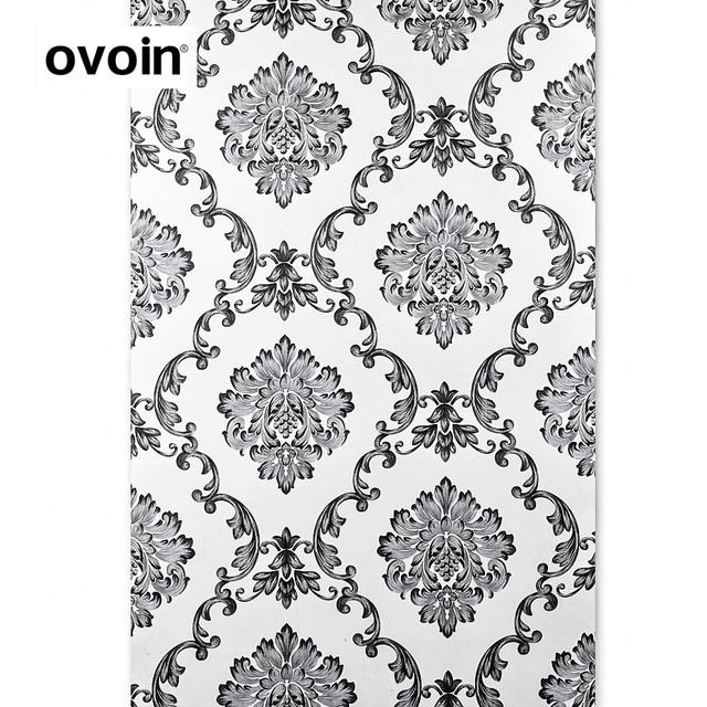 Black And Off White Damask Wallpaper Wall Paper Roll