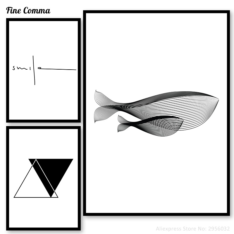 Whale Sea Animal Pictures Posters and Prints Nordic Poster Wall Pictures for Living Room Geometric Wall Art Canvas Prints