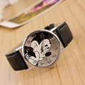 2016 fashion minnie mickey women watch boy girl cartoon watches imitation PU leather Unisex quartz watch student holiday gifts
