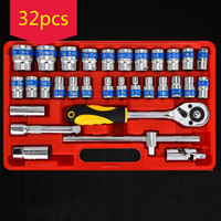 32PC Car Repair Tool Kit Torque Wrench Spanner Wrench Set Socket Set Tool Combination