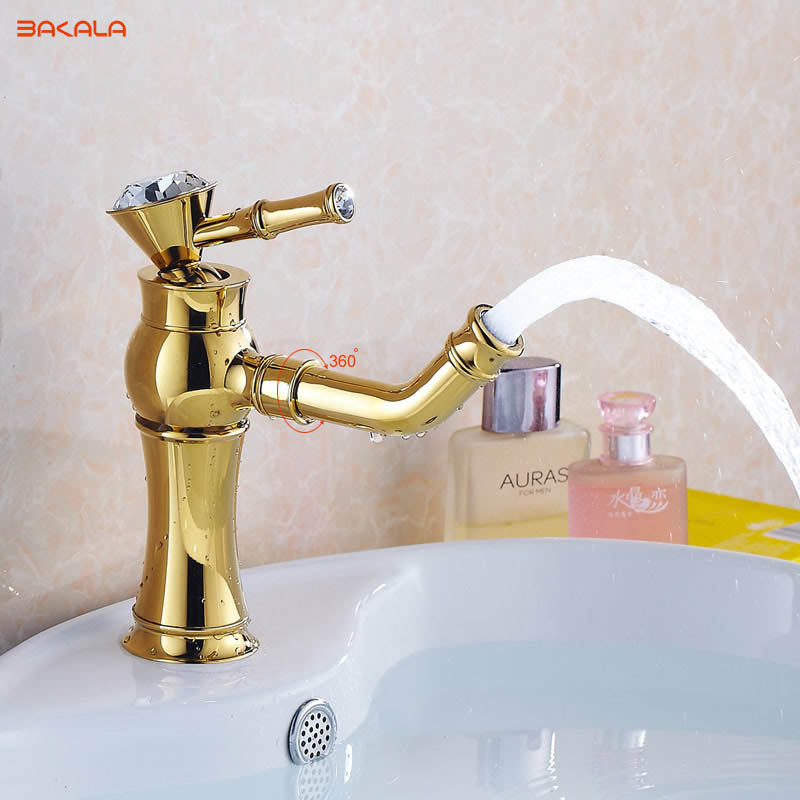 BAKALA New Deck mounted brass and ceramic faucet Bathroom Basin faucet Mixer Tap Gold Sink Faucet