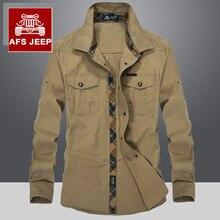 JEEP männer Military stil langärmliges hemd normallackhemd cusual lose stil shirts