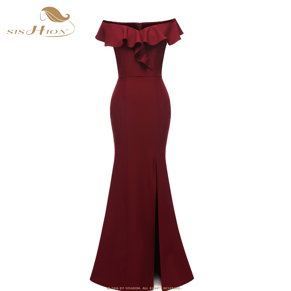 SISHION Elegant Long Dress Ruffles Design CD1683 Black Wine Red Navy Blue Dinner Night Women Ladies