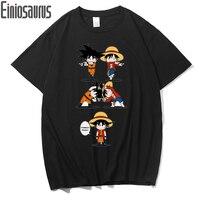 fd267f777 Einiosaurus Super Saiyan Goku VS One Piece Luffy T Shirt Anime Original  Design Funny T Shirts
