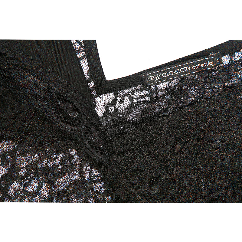 GLO-STORY Women 2018 Summer Sexy Long Sleeve Black Lace Bodysuit Femme Clubwear V-neck Bodycon Transparent Bodies Tops WCX-4855