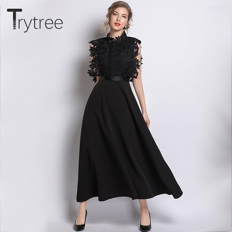 Trytree été élégant décontracté solide noir robe dentelle sans manches Polyester femmes robes haute rue a-ligne cheville-longueur robe