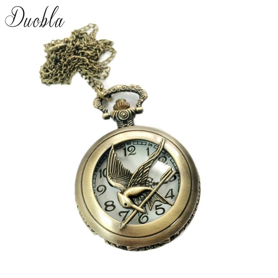 Vintage Bird Shape Pocket Quartz Keyring Watch keychain Pendant  Steampunk Homme Retro Necklace Pocket & Fob Watches Gifts #C