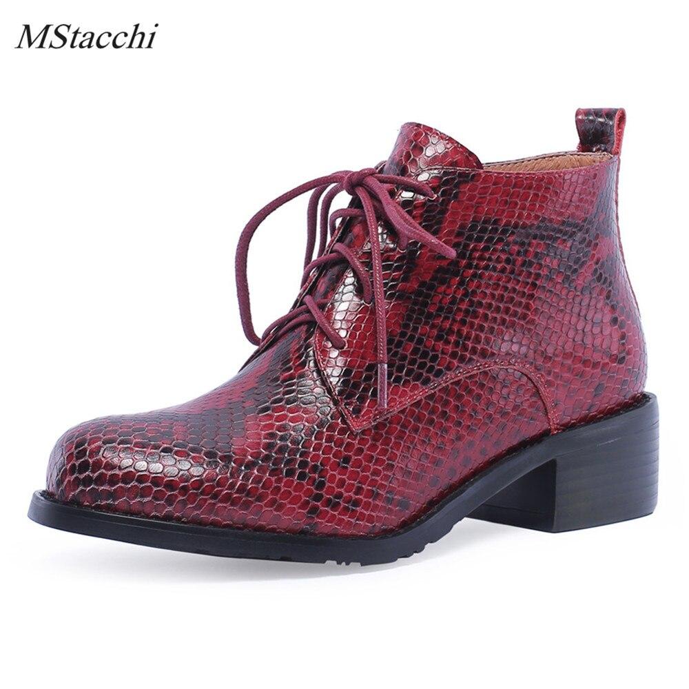 Mstacchi 여성 발목 부츠 정품 가죽 뱀 줄무늬 가을 겨울 여성 부츠 여성 첼시 부츠 mied 색상 여성 신발-에서앵클 부츠부터 신발 의  그룹 1