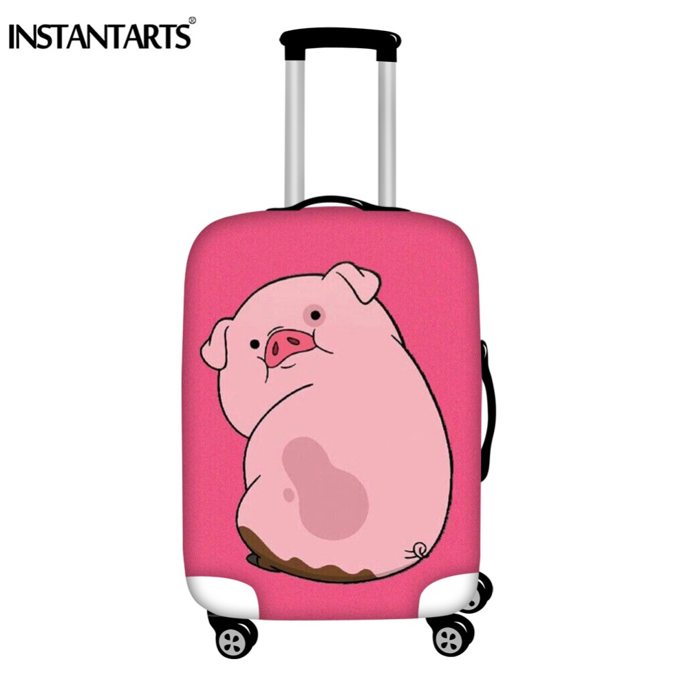 INSTANTARTS Cute Pink Pig Printing Luggage Protector Covers Travel Accessories Elasticity Dust Rain Girls Trolley Suitcase Cover