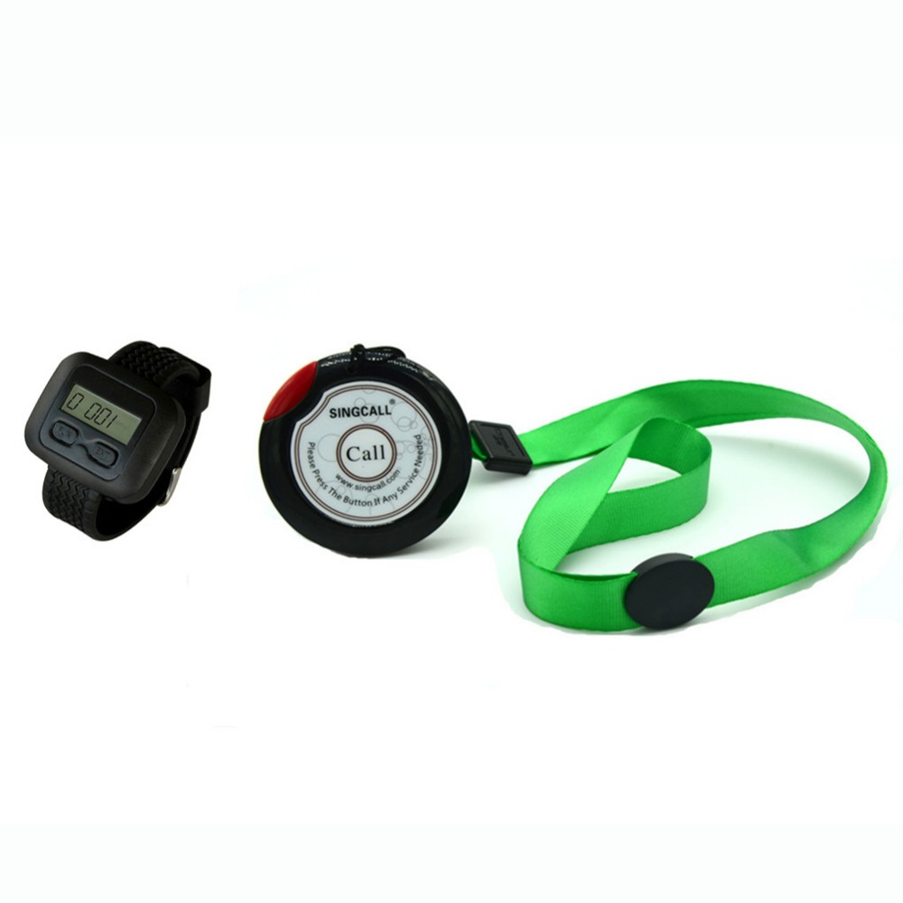 SINGCALLwireless emergency call system.care pager.old person in welfare center.1 table button and 1 pc of wrist watch receiver service call bell pager system 4pcs of wrist watch receiver and 20pcs table buzzer button with single key