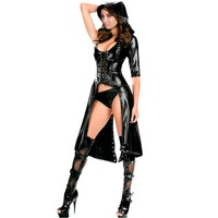 New 2016 Steampunk Clothing Punk Gothic Dress Black Wetlook Faux Leather Dress Women Sexy Hooded Coat