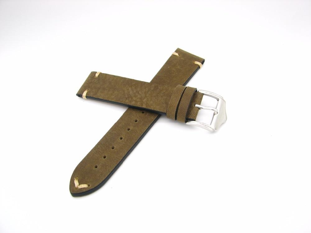 CARLYWET 20 22mm Echtes Leder Grün Braun Vintage Uhrenarmbänder - Uhrenzubehör - Foto 5
