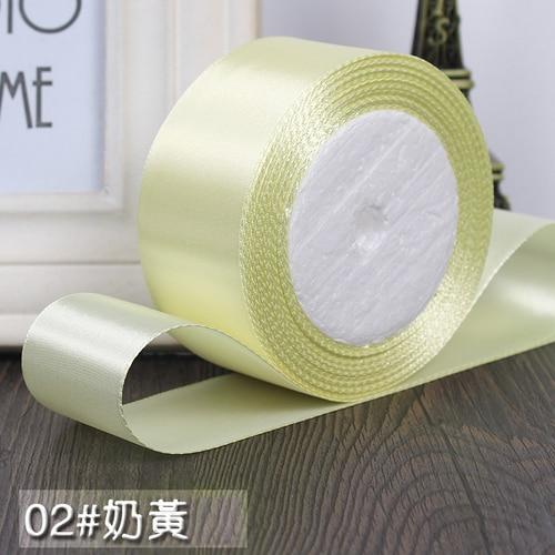 25 ярдов/рулон 6 мм, 10 мм, 15 мм, 20 мм, 25 мм, 40 мм, 50 мм, шелковые атласные ленты для рукоделия, швейная лента ручной работы, материалы для рукоделия, подарочная упаковка - Цвет: Cream