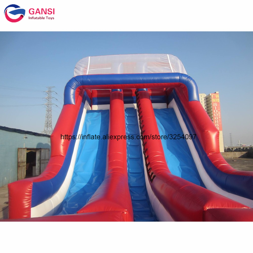 Giant 0.55mm PVC high quality commerical inflatable bouncy slide, cheap price kids castle trampoline inflatable slide funny summer inflatable water games inflatable bounce water slide with stairs and blowers