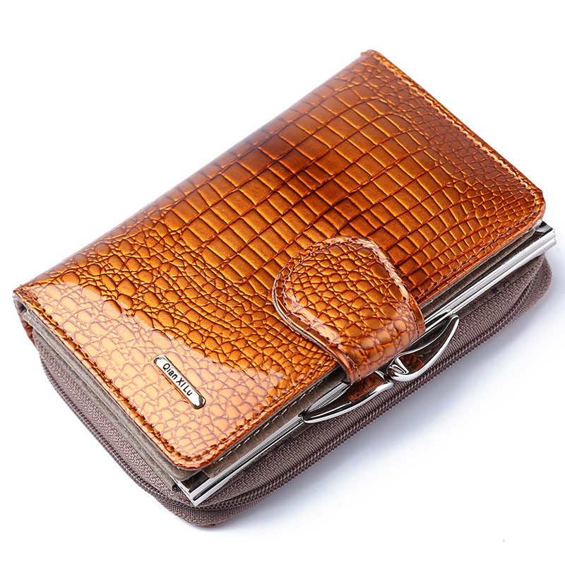 Doka bit patent leather wallet female short paragraph Calfskin zipper buckle crocodile pattern womens wallets and Coin Purse