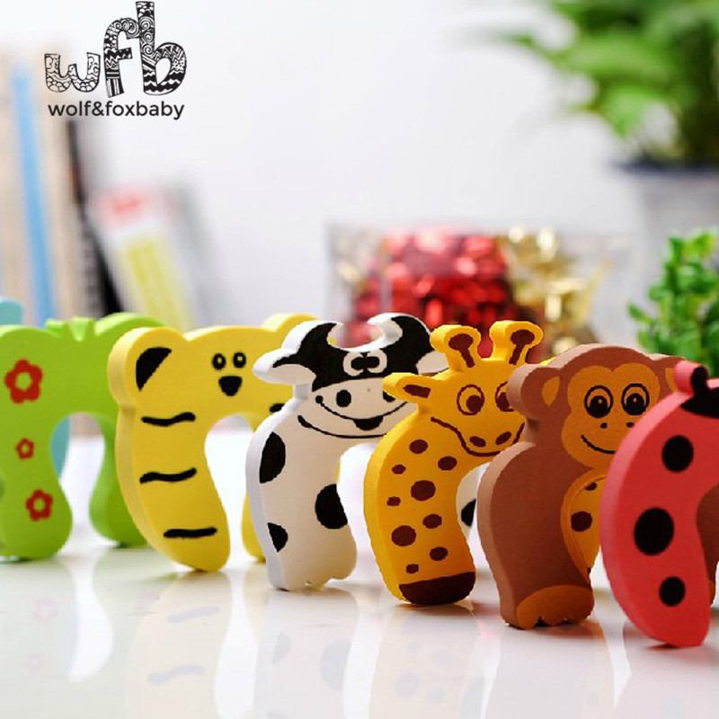 6X cute animal designs Baby safety Door Jammer Guard Finger Protector Stoppers for random mixed 10pcs lot cartoon animal finger puppet finger toy finger doll baby dolls baby toys animal doll