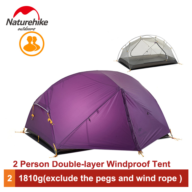 Naturehike 2 Person Outdoor Camping Tent Outdoor Double-layer Waterproof 3 Season Tent NH17T006-T good quality flytop double layer 2 person 4 season aluminum rod outdoor camping tent topwind 2 plus with snow skirt