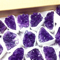 Wholesale 1 Box Natural Amethyst Cluster Quartz Crystal Raw Rock Purple Crystal Cluster Minerals Specimen Healing Stones