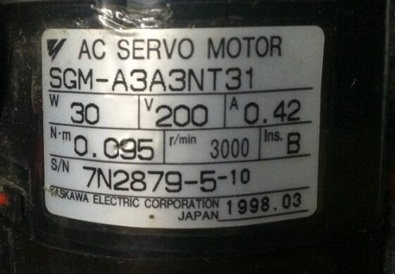 Servo motor SGM-A3A3NT31  , Used one , 90% appearance new , 3 months warranty  , in stock Servo motor SGM-A3A3NT31  , Used one , 90% appearance new , 3 months warranty  , in stock