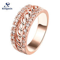 Sterling Silver Ring Rose Gold Plated Fashion Jewelry 2015 Newest Design Lady Zircon Ring Free Shipping