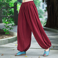 Women Pure Linen Wide-leg Trousers Elastic Waist Casual Black And Red Loose Harem Pants Autumn New