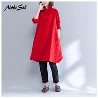 Artı Boyutu Sonbahar Kış Kalınlaşma Sıcak Kadınlar Kazak Elbise Çin Tarzı Standı Yaka Uzun Kollu Plaka Toka Yastıklı Elbise