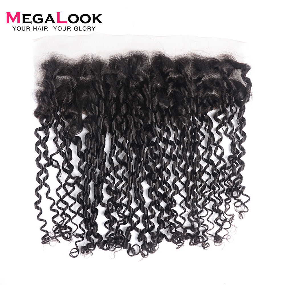 Megalook Super Double Drawn Pissy Curl Bundles with Lace Frontal 5